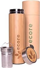 ecore Thermosflasche aus Bambus mit Teesieb - 450ml, doppelwandig, Thermobecher, Trinkbecher, Teebereiter, Tea