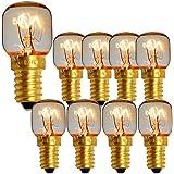 Lot de 10 ampoules pygmées à bouchon à vis SES E14 300 degrés Ampoule de lampe à sel pour four à micro-ondes (Brass 15w)