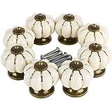 *Verzending vanuit Duitsland bij instant * 8 Design wit pompoen porselein knoppen Meubelgreep Meubelknop Luxe