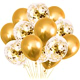 Party Propz Golden Latex & Confetti balloons for birthday decoration items - 18Pcs Pack balloons for birthday party