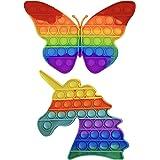 JB London BU01 2-Pack Kids Adults, Bubble, Fidget Popper Stress Reliever Toys (Butterfly + Unicorn), Red & Yellow
