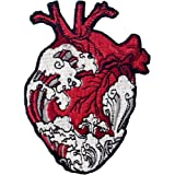 Toppa ricamata da applicare con ferro da stiro o cucitura, tema: Le onde e il cuore