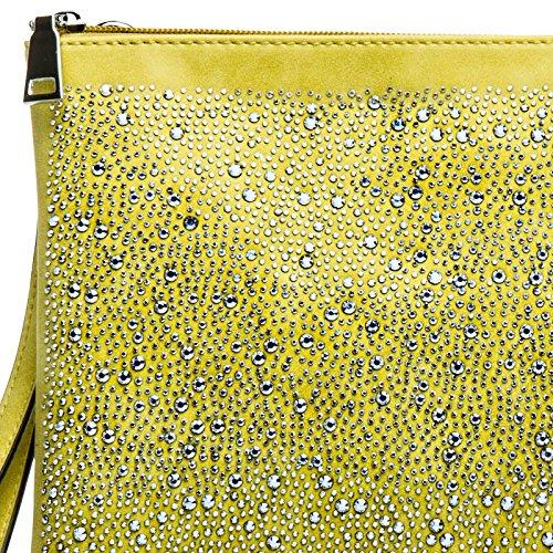 CASPAR TA358 Grand sac à main enveloppe XL brillant pour femme / Clutch de soirée avec strass et dragonne Jaune