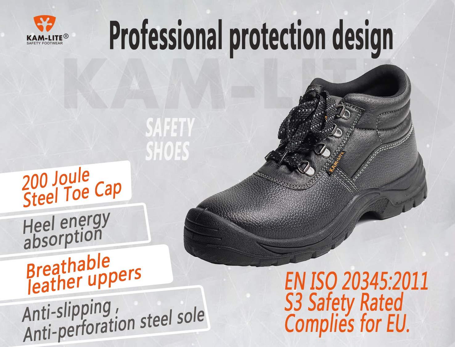 KAM-LITE Herren Arbeitsstiefel Wasserdichter Slip auf Sicherheitsschuhen Leder Stahl Zehenkappe Working Knöchel…