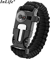 Zorbes Inlife Multifuctional Survival Paracord Bracelet with Scraper Whistle Thermometer Flint Fire Starter