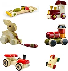 Kids SHOPEE Wooden Toys KIDSSHPOEE Push and Pull Wooden Toys Set of 6 Pieces