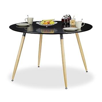 relaxdays arvid tavolo da pranzo rotondo, legno, nero, 120 x 120 x ... - Tavoli Da Cucina Rotondi