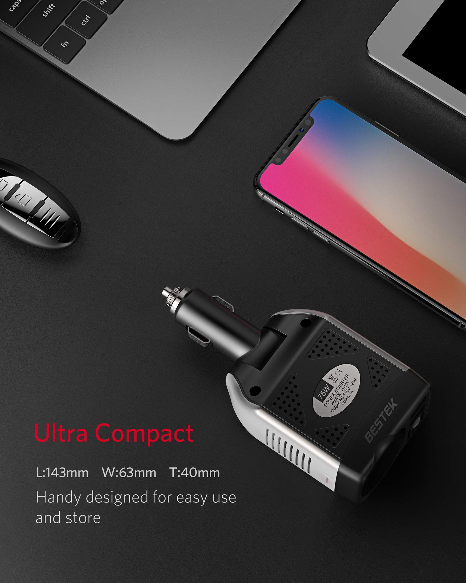 BESTEK-Spannungswandler-12V-auf-230V-Auto-USB-Ladegert-75W-KFZ-Steckdosen-Wechselrichter-12-230-fr-iPhone-iPad