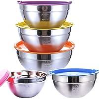 SaiXuan Lot de 5 Bol Acier Inoxydable avec Coloré Couvercles,Bol À Soupe, Saladier,Bol à Céréales, Bol À Dessert,Snack…