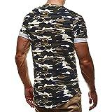 MRULIC Herren Mode Persönlichkeit Camouflage Männer Casual Schlank Kurzarm-Shirt Top Bluse