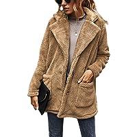 BUOYDM Cappotto Giacca Donna Giacca in Peluche Invernale Parka Elegante Outerwear Caldo Lapel Giacche Cappotti