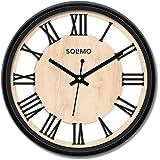 Amazon Brand - Solimo Roman Wheel 12-inch Plastic and Glass Silent Movement Wall Clock (Black)