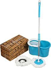 GTC 360 Degree Spin Floor Cleaning Easy Bucket Pvc Mop with 2 Microfiber Heads