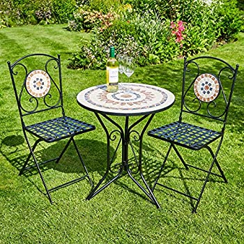 40c8b2efe0 Home Source Mosaic Bistro Set Outdoor Patio Garden Furniture Table and 2  Chairs Metal Frame (Sunflower)