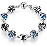 Femme Bijoux Bleu Bracelet Breloque avec Pendentif Coeur en Plaqué Argent Cadeau parfait pour les fêtes, les anniversaires 21 centimetre