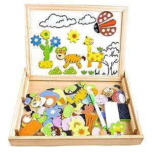 COOLJOY Puzzles Enfant en Bois Magnétique, Jigsaw avec Tableau Noir de Chevalet à Double Face Jouets Educatif pour Bambin Enfants Fille- 100 Pièces (Animaux) - Puzzle Aimant Peut Coller sur Un frigo