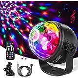 Discobal LED Party Lamp, Gritin discolicht kinderen muziekgestuurd disco lichteffecten met 15 kleuren RGBP, 360 graden draaib