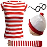 Gizelle Ladies Women's Girls RED & White Strips T-Shirt KIT Hen Party Costume Book Day