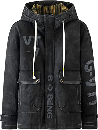 Men's Cotton Padded Parka Winter Cargo Coat Patchowork Windproof Streetwear Jacket
