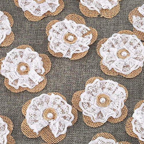 he Farbe Spitze Leinen Blume Manuelle DIY Kleidung Zubehör Blume Mit Perle Für Hochzeit Kostüm Dekoration (Perlen Applikationen Für Kostüme)