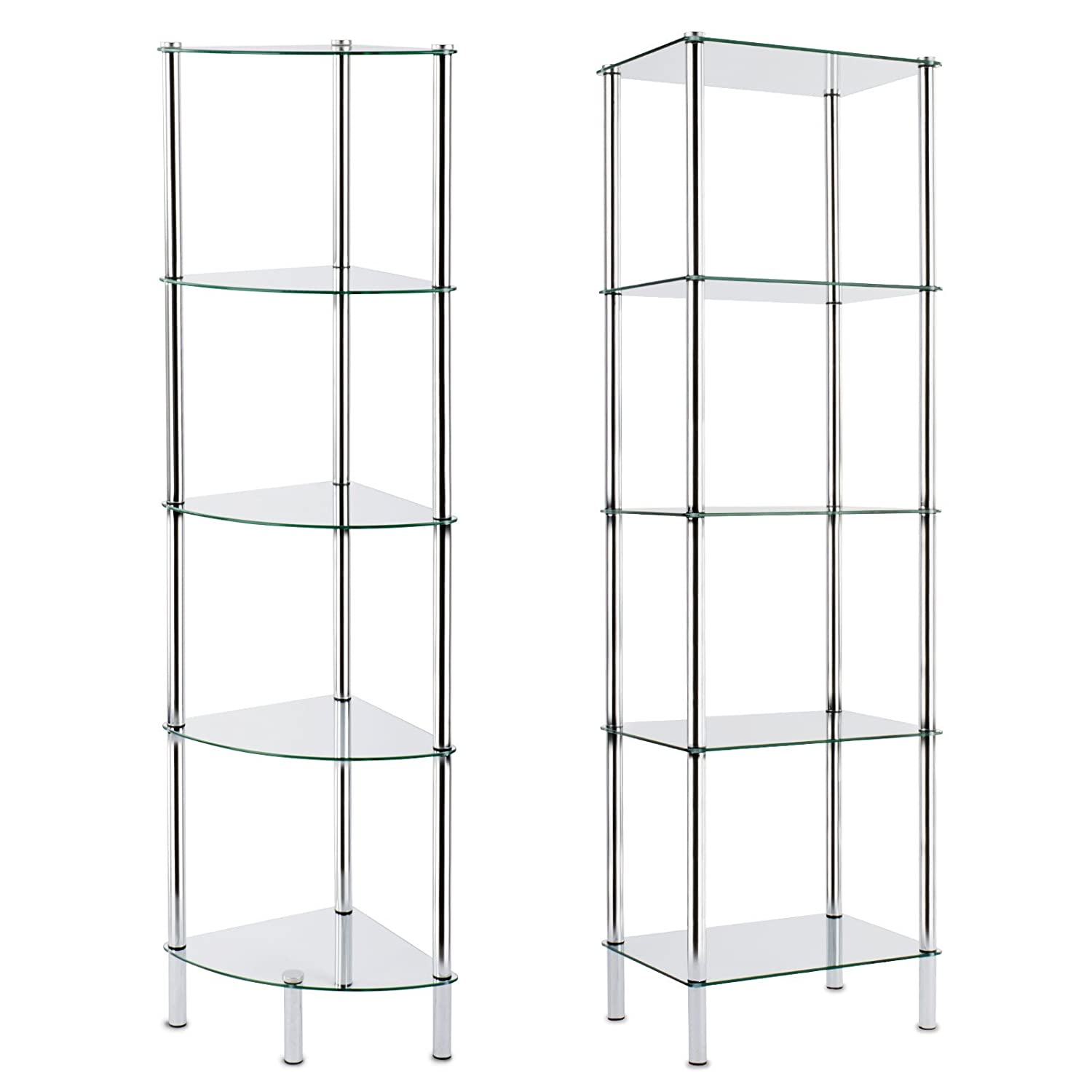 Glass shelving bathroom - Casa Pura Glass Corner Shelving Unit 5 Tier 30x30x134cm 2 Sizes Available For Bathroom Kitchen Home And Office Amazon Co Uk Diy Tools