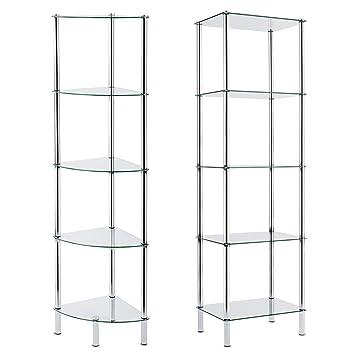 office shelf unit. casa pura glass corner shelving unit 5 tier 30x30x134cm 2 sizes available for bathroom kitchen home and office amazoncouk diy u0026 tools shelf