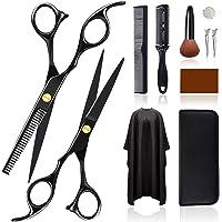 Friseurscheren Set, 11Pcs Profi Rostfreiem Stahl Haarschneideschere Bartschere, Ausdünnschere mit Friseurumhang, Haar…