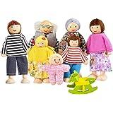 Härlig glad familj dockor lekset träfigurer uppsättning av 7 personer för barn småbarn – dockhus låtsas gåva