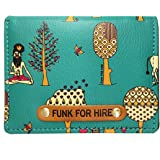 Funk For Hire Printed Leatherette Unisex Card Holder Wallet Pocket Organizer - Teal
