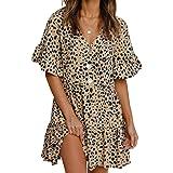 GOSOPIN Damen Freizeit Kleid V-Ausschnitt Damenrock Casual Tunika Kleid elegant Blusenkleid Frühling Sommer Herbst Strandklei