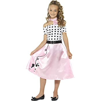 24133a6446 Girls 50's Blue Rock and Roll Skirt & Scarf Soda Hop Rockabilly ...