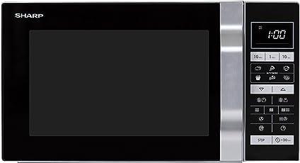 Sharp R-860S 3-in-1 Mikrowelle, Grill und Heißluft / 25 L / 900 W / 49cm / Ebener Boden und somit eine größere Auflagefläche, auch für eckiges Geschirr / Programmautomatik /  Gewicht- und zeitgesteuertes Auftauen / edelstahl