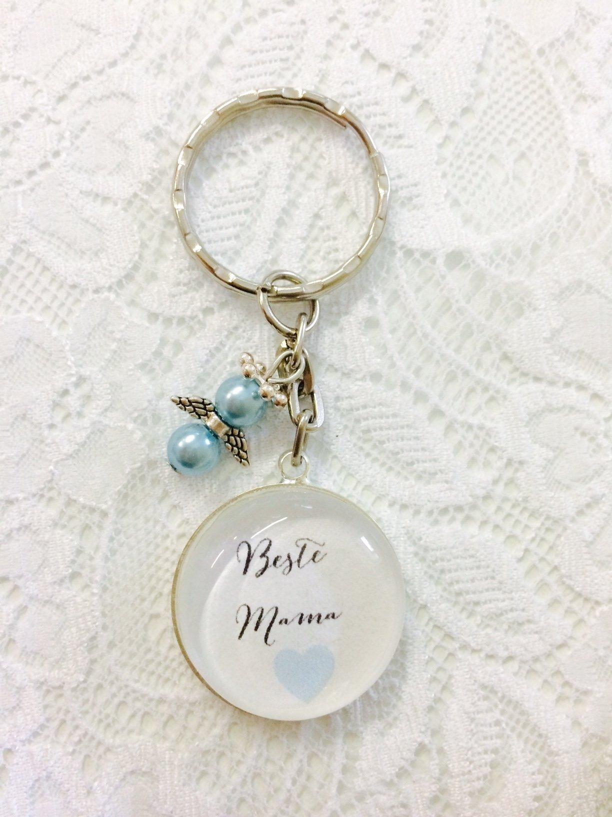 Handgemachter Cabochon Schlüsselanhänger Beste Mama, mit Schutzengel, Weihnachten, Muttertag, Geburtstag (blau)