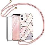 AROYI Funda con Cuerda Compatible con iPhone 12 Mini con 2 Pack Cristal Templado con Correa Colgante Ajustable Carcasa Silico