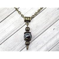 Collana con ciondolo stile vintage da donna in ematite nera montata su catena in bronzo antico