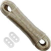 FACIACC Corde à linge 50M, corde à linge en acier à noyau en acier ultra-robuste, portable facile à installer pour les…