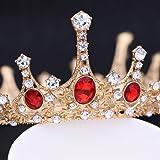 Frcolor Tiara nuziale della principessa Regina Corona, fascia rubino vintage corona strass fascia per la sposa e damigella ce