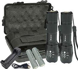 YOUTU (2 Stück) Zoombar Superhelle Taktische CREE LED Taschenlampe, 2000 Lumen, Wasserdichte, 5 Lichtmodi, inklusive 2 18650 Batterie, LED Handlampe, LED Camping Handlampe, Mit einstellbarem Fokus (inklusive Ladegerät)