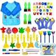 SPECOOL 56 Pcs Kits de Pinceles de Esponja, niños Gouache Craft Pinceles y Delantal Herramientas de Pintura, Acuarelas niños,