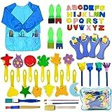 SPECOOL 56 Pezzi Pennelli Spugna per Pittura Set per Bambini, Pennello da Disegno per Bambini, Paint Spugne per Bambini Lavab