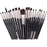 Brochas de Maquillaje 20 piezas Pinceles de Maquillaje Profesional Fibra Sintética para las Cejas, Facial, Base de Maquillaje