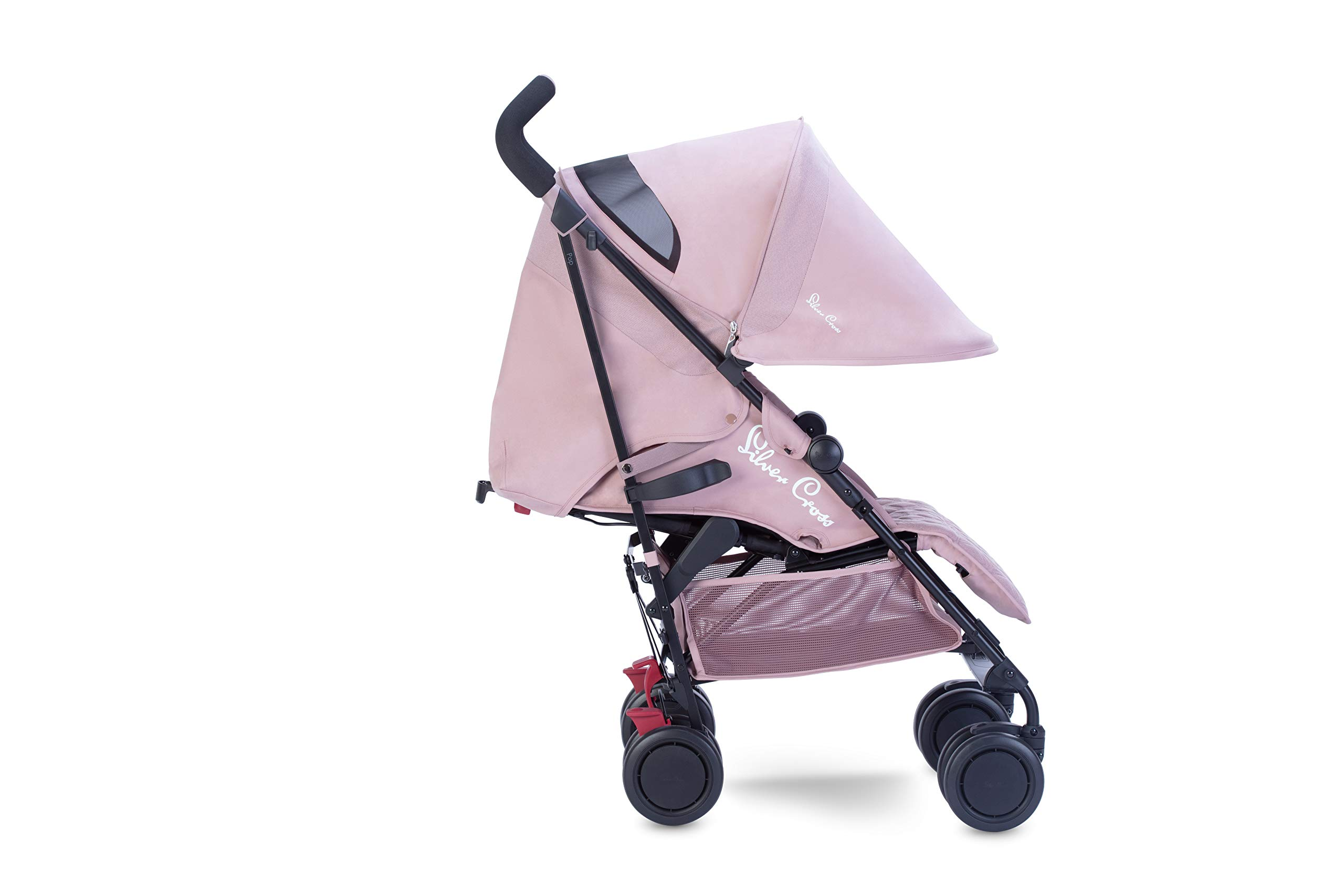 Silver Cross Pop Stroller, Compact and Lightweight Pushchair - Blush Silver Cross NEWBORN TO TODDLER: Suitable from birth up to toddlers (25kg), sitting upright to watch the world, or reclining to a lie-flat position WATER AND WIND RESISTANT: Ideal for all weather conditions to keep your baby warm and protected from wind and rain LIGHTWEIGHT AND COMPACT: Quick and easy one-handed fold feature with a carry handle for ease positioned on the side of the matte black chassis 1