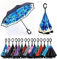 Jooayou Paraguas Invertido de Doble Capa,Paraguas Plegable de Manos Libres Autoportante,Paraguas a Prueba de Viento...