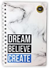 Dream Believe Create Planner [White Marble] - Best Daily Agenda to Achieve Your Goals & Live Happier in 2018 - Gratitude Journal - Undated - Use for (90 Days)