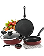 Cello Prima + Induction Base Non-Stick Aluminium Cookware Set, Cherry