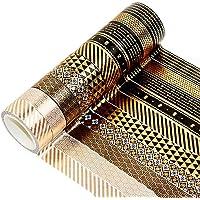 YUBX 10 Rouleaux Washi Tape Ruban Adhésif Papier Décoratif Or noir Masking Tape pour Scrapbooking Artisanat de Bricolage…