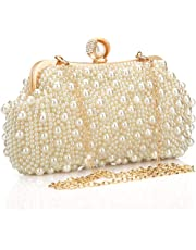 veyiina nero Women's Polyester Pearl Supply Purse/Clutches for Bridal, Casual (IME-WB153, White)