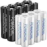 POWEROWL 8-pack AA och 8-pack AAA uppladdningsbara batterier förladdade, hög kapacitet 2800 mAh och 1 000 mAh 1,2 V NiMH batt