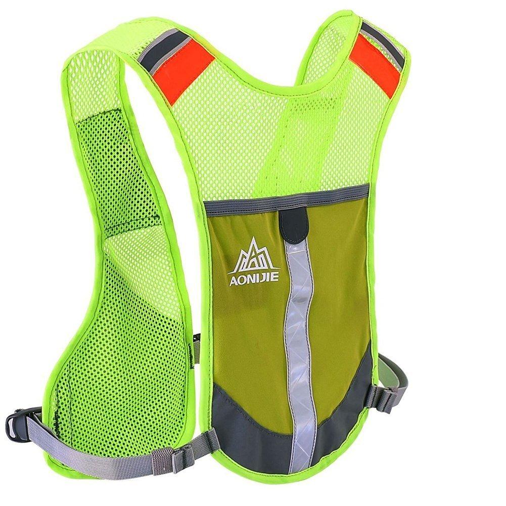 Aonijie zaino d' idratazione ciclismo riflettente gilet leggero Gear Pocket visibilità corsa, Green
