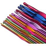 Luxbon Lot de 14 Crochets en Aluminium Tricot Outils multicolore et 14 taille 2-10 mm Accessoires à Tricoter Cadeau de fête des mères